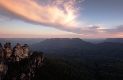 The Three Sisters rock formation in the Jamieson valley just outside of Sydney is an integral part of Aboriginal history. Here it is captured in the last light of the day, bouncing of a beautiful cloud.